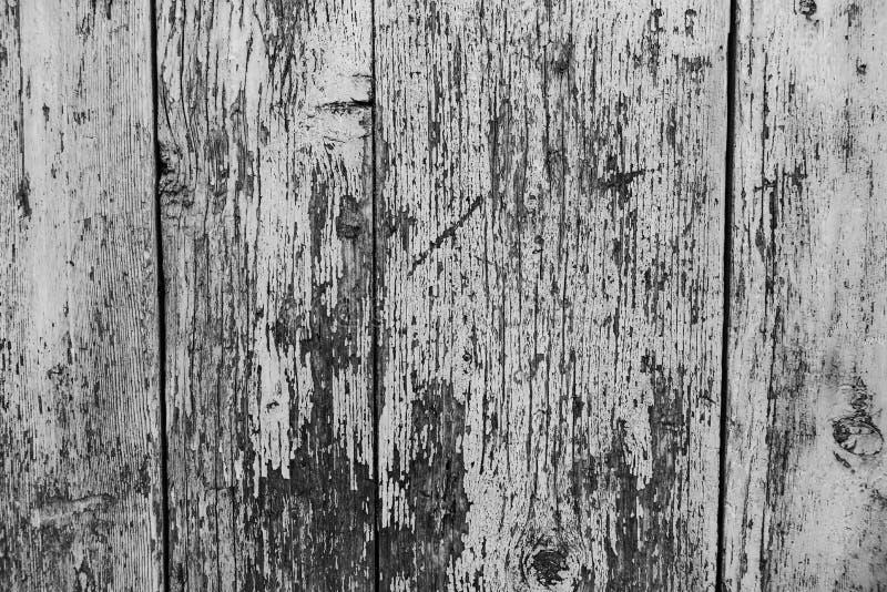 Oude houten muur als achtergrond of behang Zwart-wit beeld stock foto
