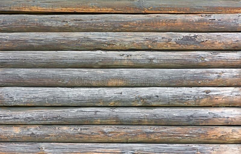Oude houten muur van pijnboomlogboeken stock foto