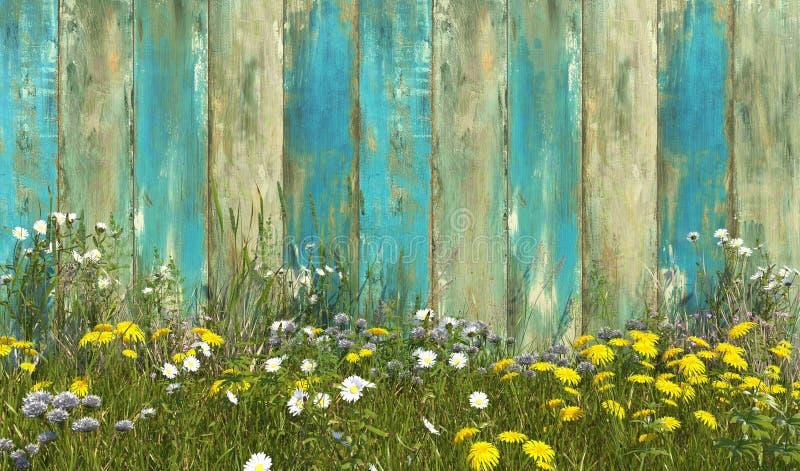 Oude houten omheining in blauwe kleur met gras, dat met onkruid en wildflowers op een de zomer zonnige dag wordt overwoekerd Fron stock illustratie
