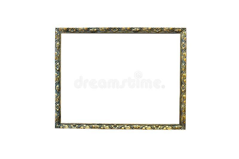 Oude houten omlijsting op geïsoleerde witte achtergrond stock foto