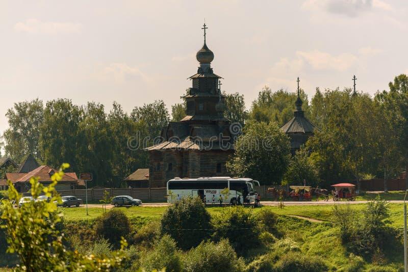 Oude houten Orthodoxe kerk in Suzdal-museum van houten architectuur royalty-vrije stock foto's