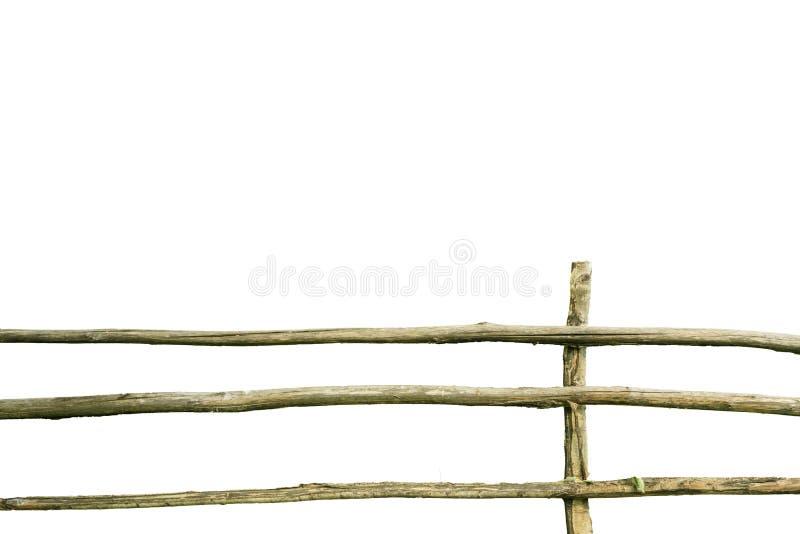 Oude houten rachitische die omheining op witte achtergrond wordt geïsoleerd Rustiek levensstijlconcept royalty-vrije stock foto's