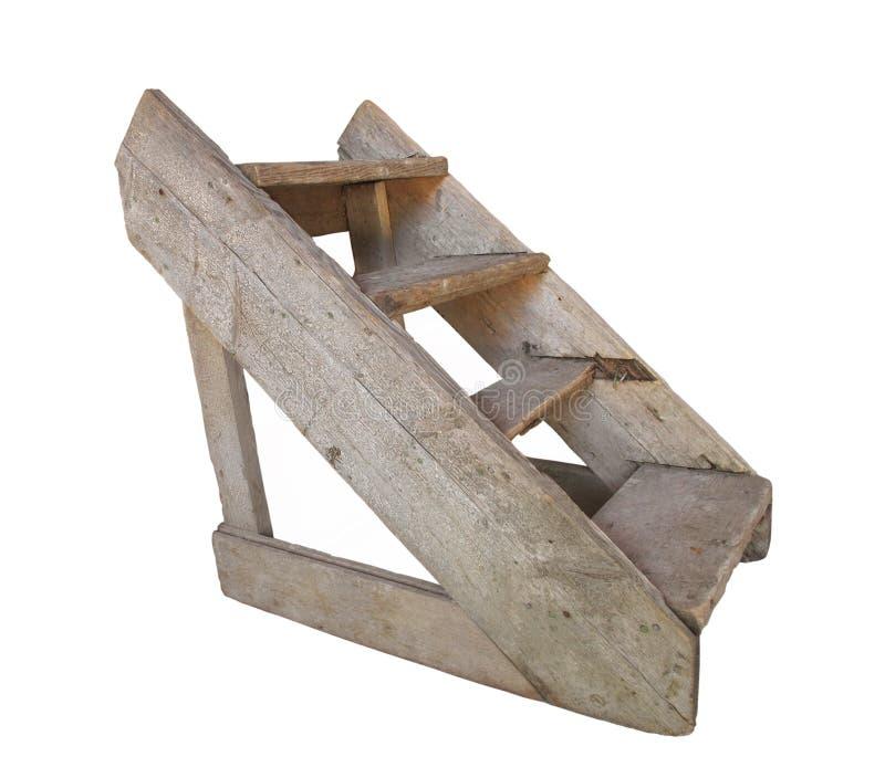 Oude houten reeks geïsoleerde_ stappen. stock afbeelding