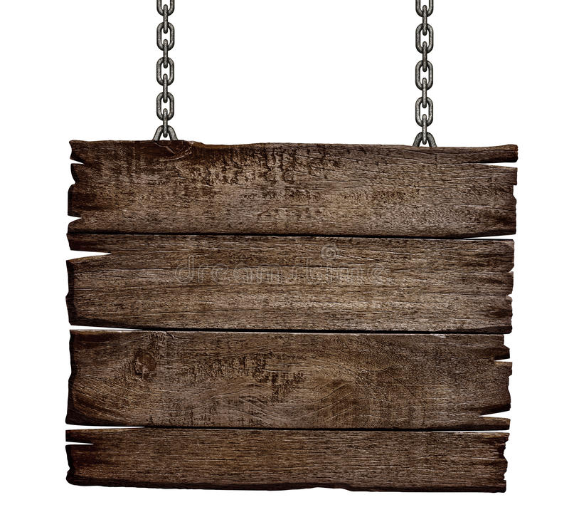 Oude houten tekenraad op ketting royalty-vrije stock foto's