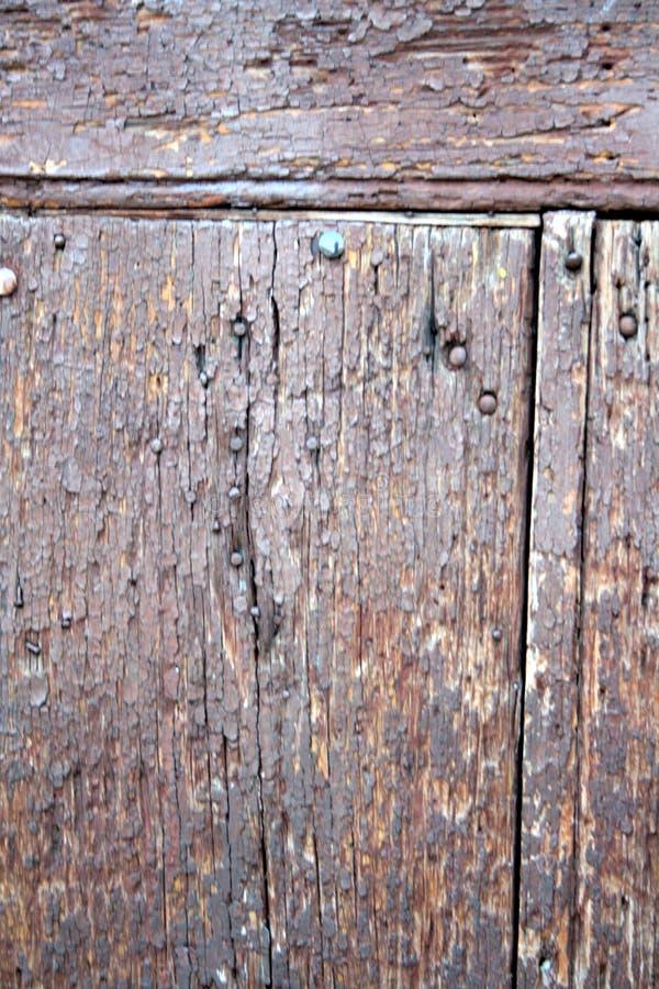 Oude, houten textuur, met spijkers en schroeven en houten korrel zelf stock foto's