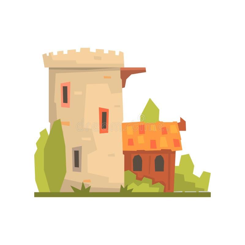 Oude huis en steenvestingstoren, oude architectuur die vectorillustratie bouwen royalty-vrije illustratie