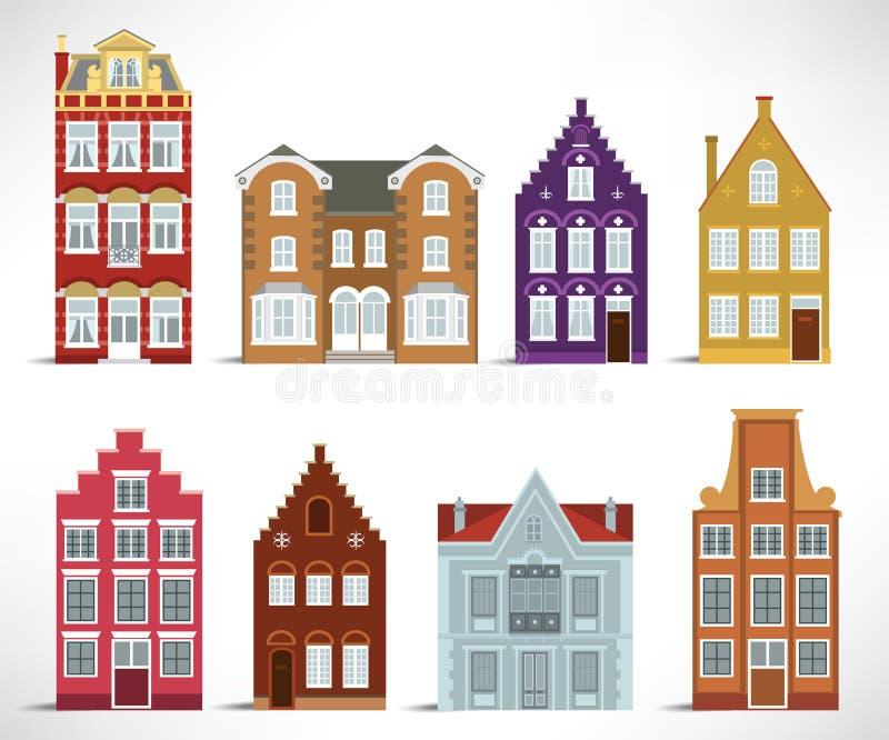 8 oude huizen royalty-vrije illustratie