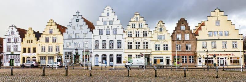 Oude huizen in Friedrichstadt, Duitsland royalty-vrije stock afbeeldingen