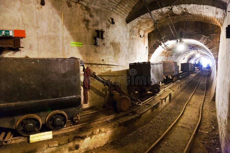Oude ijzerertsmijn, Chrustenice-schacht, Lodenice, Centraal Boheems gebied, Tsjechische republiek - unieke 84 ondergrondse vloere stock foto's