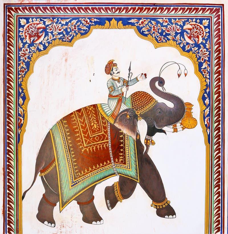 Oude Indische fresko van olifant & de mens, Mandawa stock afbeeldingen