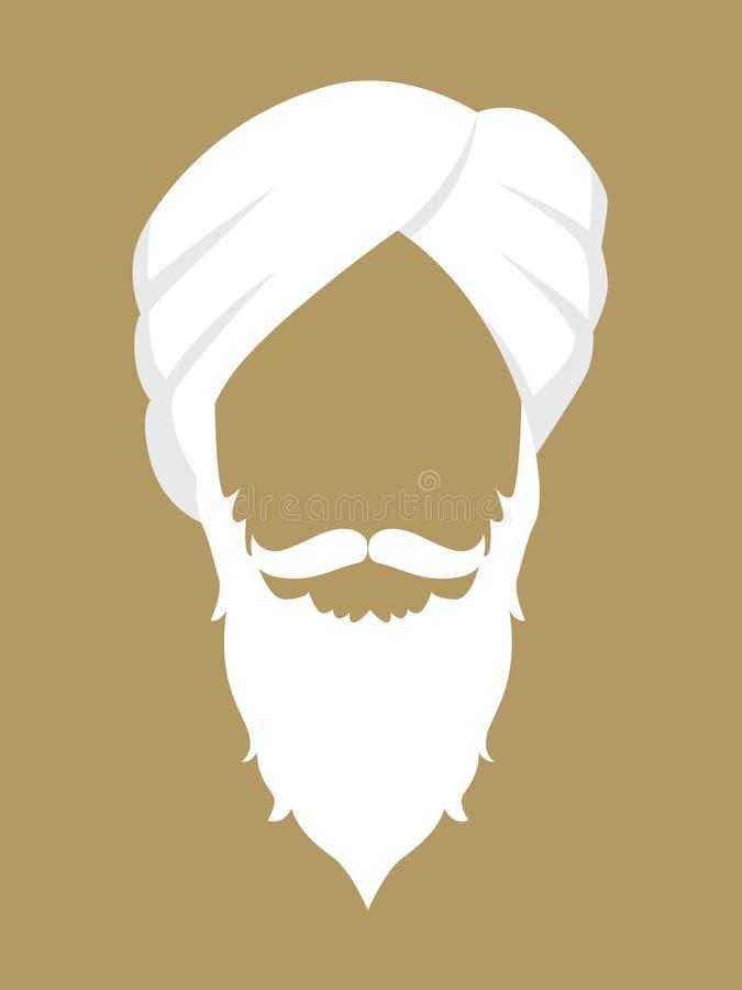 Oude Indische Mens die Tulband dragen vector illustratie