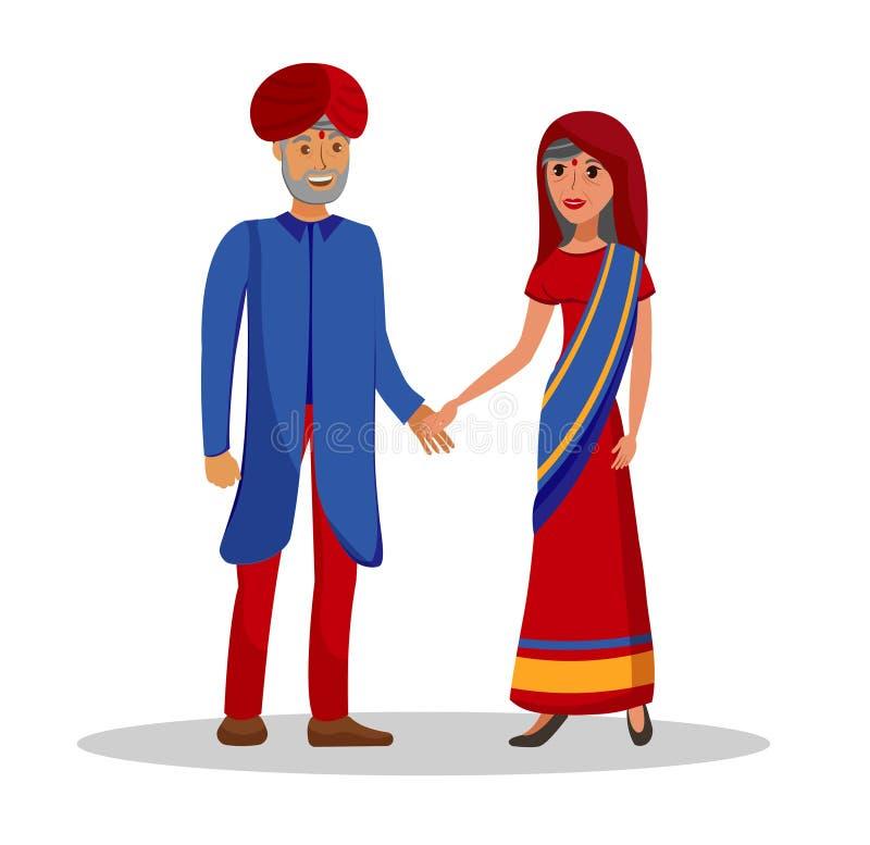 Oude Indische Paar, Echtgenoot en Vrouwenillustratie vector illustratie
