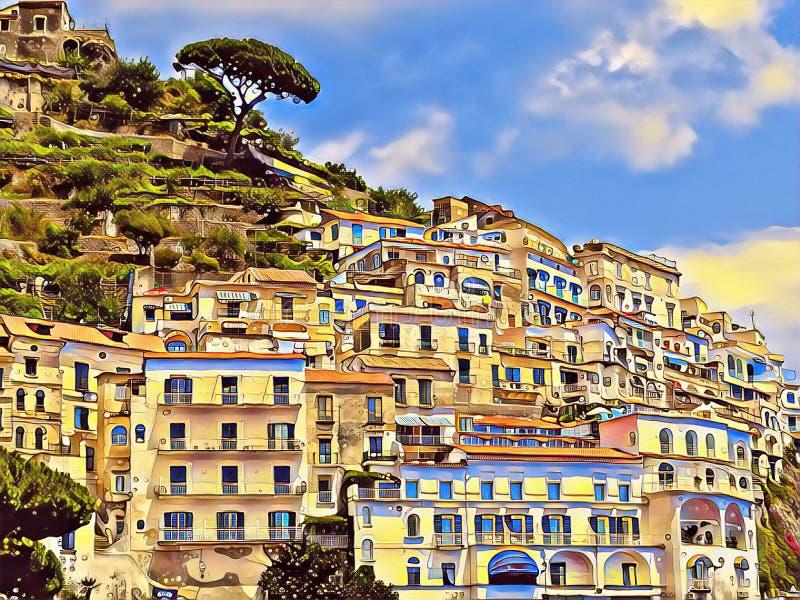Oude Italiaanse stad op een berg Amalfi terrassen met witte huizen digitale illustratie royalty-vrije illustratie