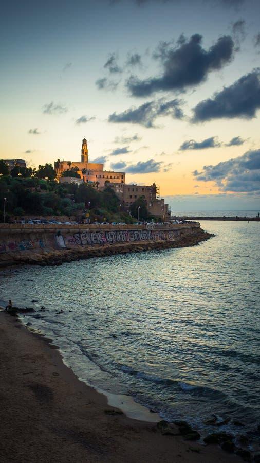 Oude Jaffa bij Nacht royalty-vrije stock foto's