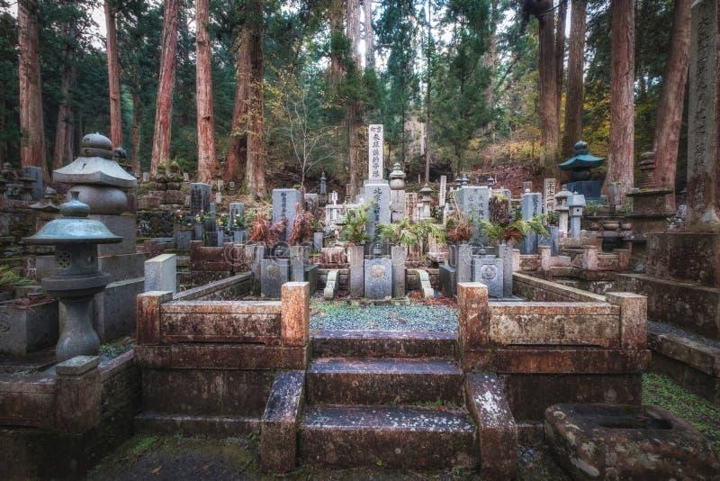 Oude Japanse Graveyard in Forest in Okunoin Cemetery, Koyasan, Japan royalty-vrije stock afbeeldingen