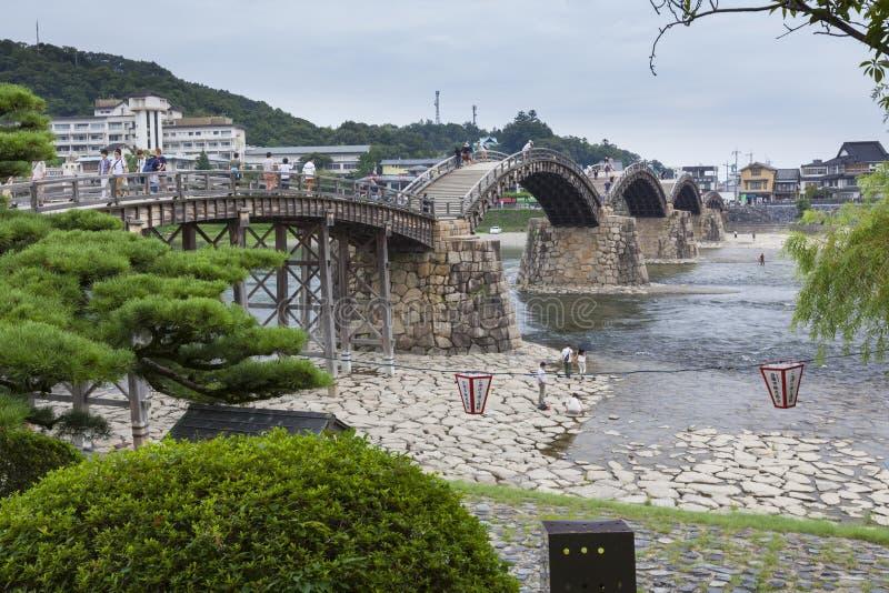Oude Japanse houten brug royalty-vrije stock foto