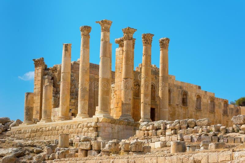 Oude Jerash Jordan Temple van Artemis royalty-vrije stock afbeeldingen
