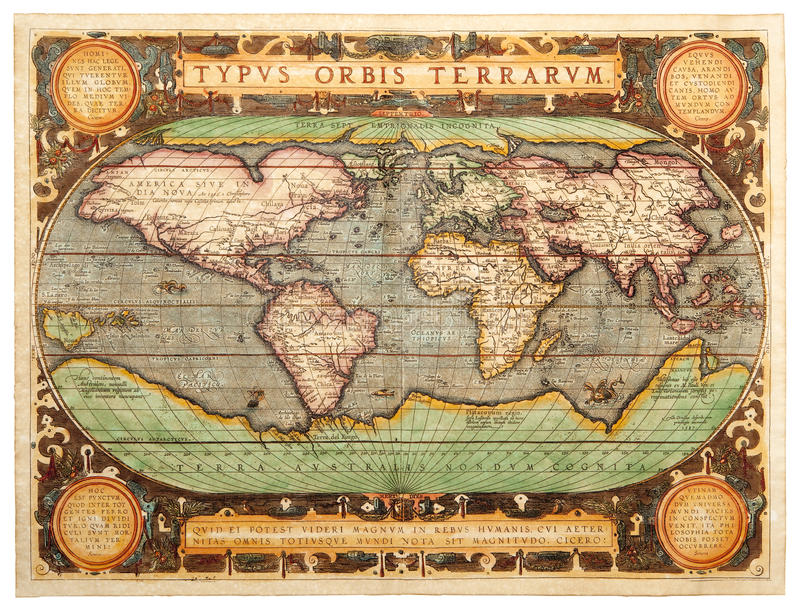 Oude kaart (1587) royalty-vrije stock foto's