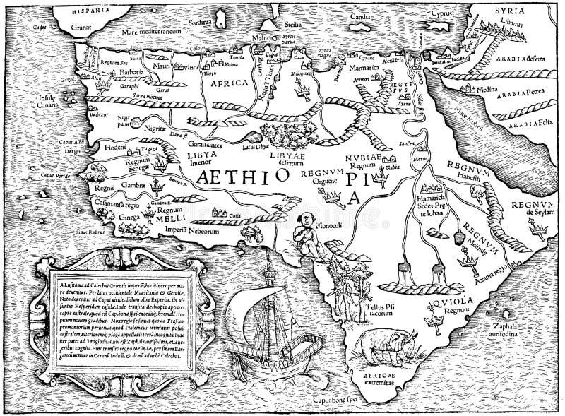 Oude kaart - Afrika stock illustratie
