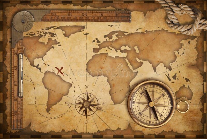 Oude kaart, heerser, kabel en oud kompas royalty-vrije illustratie
