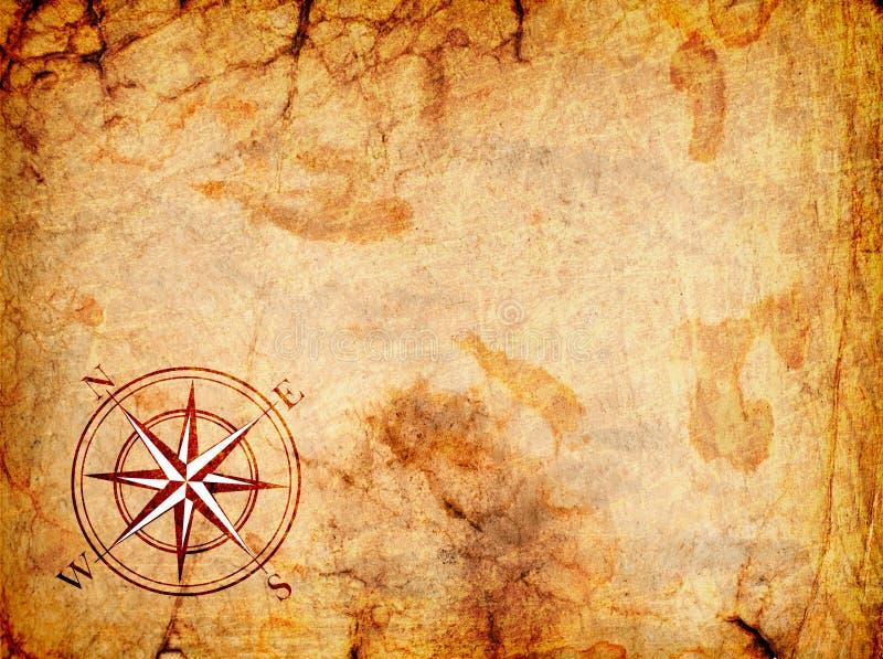 Oude kaart met een kompas op het royalty-vrije illustratie