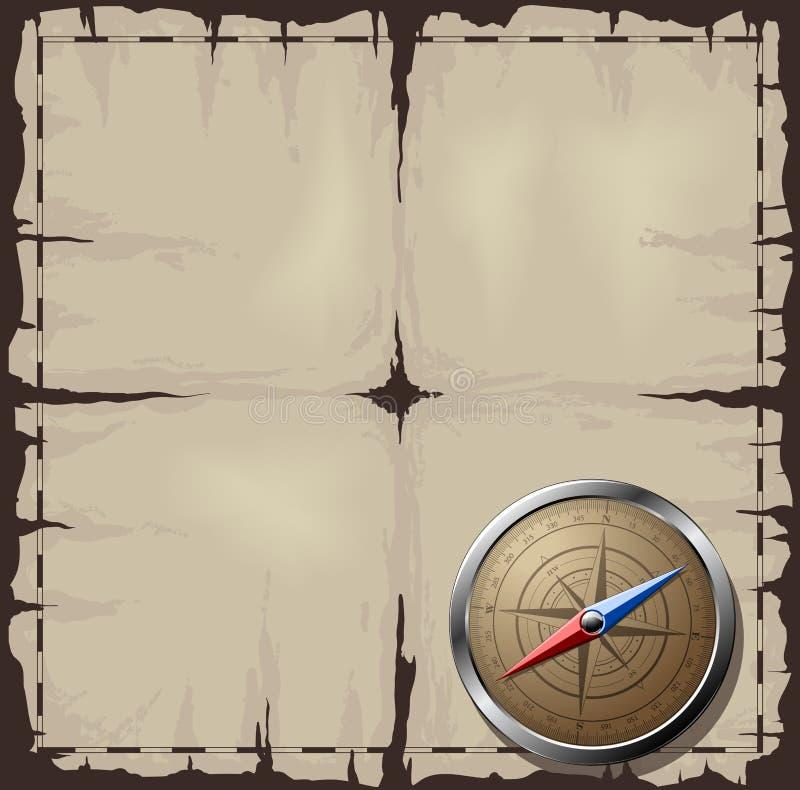 Oude kaart met het Kompas van het Staal royalty-vrije illustratie