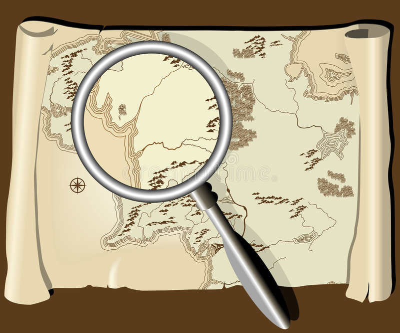 Oude kaart met meer magnifier royalty-vrije illustratie