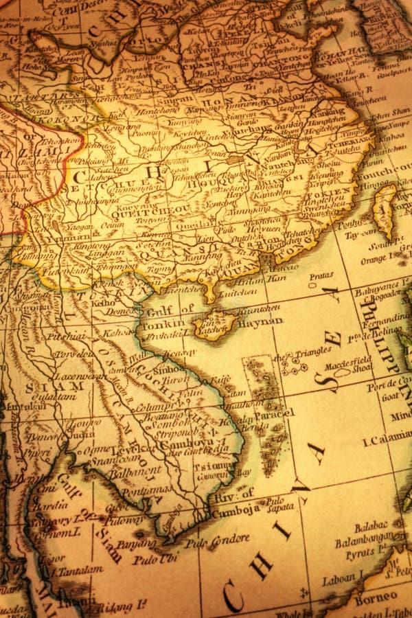 Oude Kaart van China en Indochina royalty-vrije stock fotografie