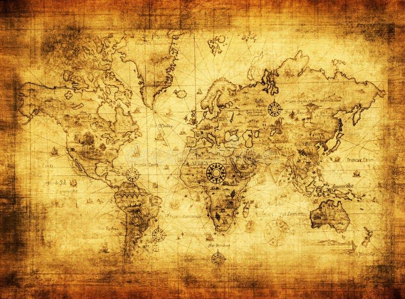 Oude kaart van de wereld stock illustratie