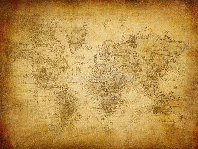 Oude kaart van de wereld royalty-vrije stock afbeeldingen