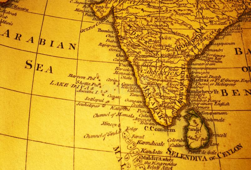 Oude Kaart van het Arabische Overzees van India en stock foto