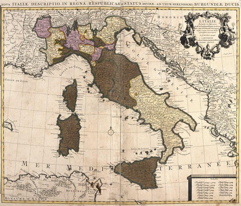 Oude kaart van Italië stock illustratie