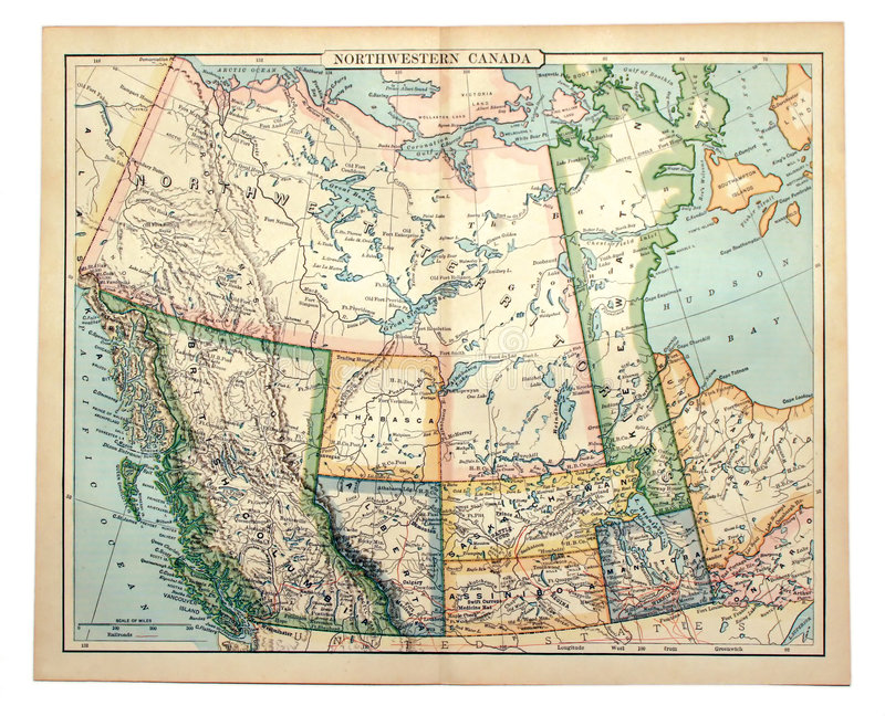 Oude Kaart van Westelijk Canada. royalty-vrije stock foto's