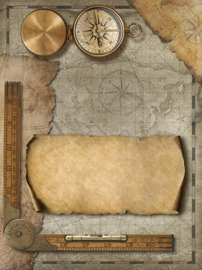 Oude kaartachtergrond met kompas Avontuur en reisconcept 3D Illustratie vector illustratie