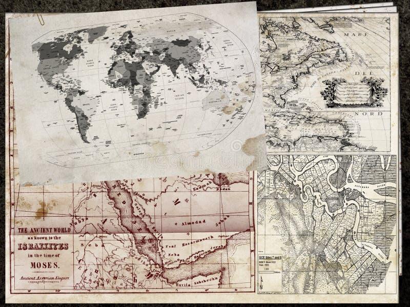 Oude kaarten vector illustratie