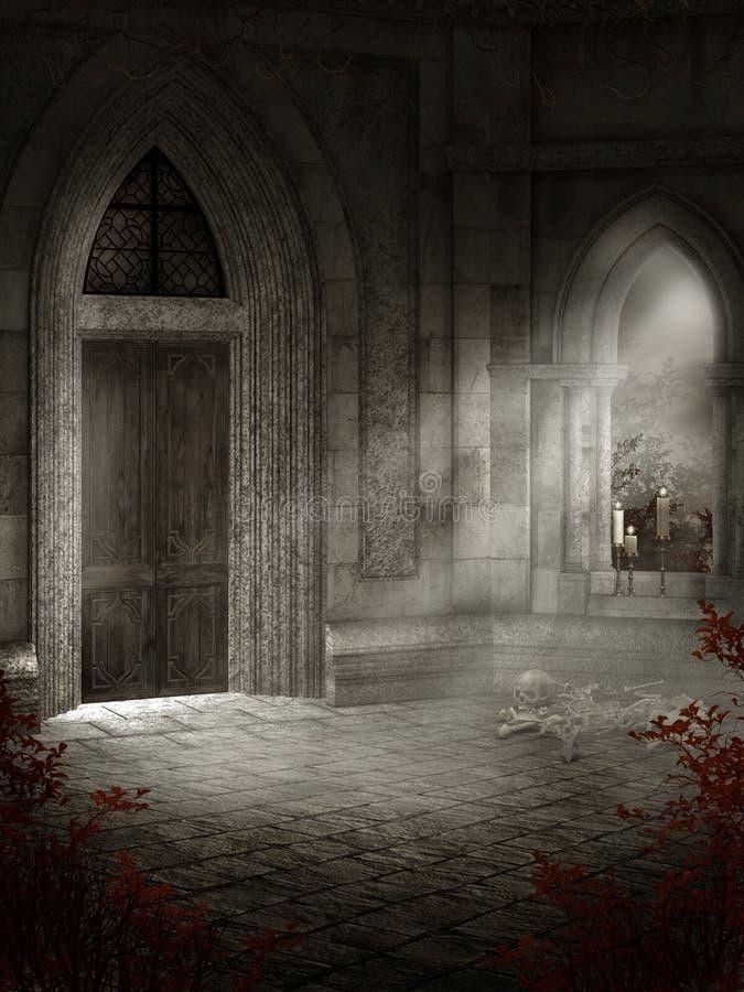 Oude kasteelkamer stock illustratie