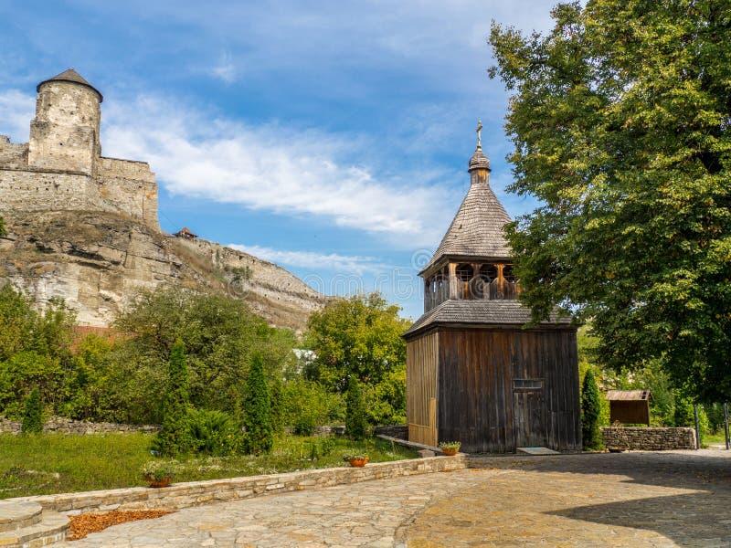 Oude kasteelmening van kamenec-Podolskiy stad, de Oekraïne stock afbeeldingen