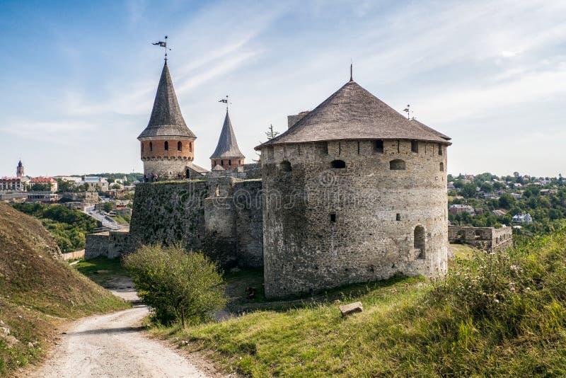 Oude kasteelmening van kamenec-Podolskiy stad, de Oekraïne royalty-vrije stock fotografie