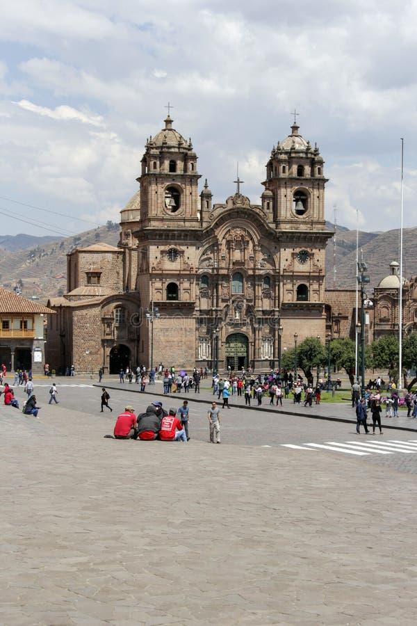 Oude katholieke kerkvoorgevel in Cuzco Peru royalty-vrije stock foto