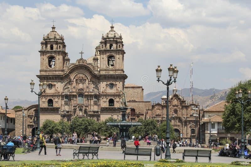 Oude katholieke kerkvoorgevel in Cuzco Peru royalty-vrije stock afbeelding