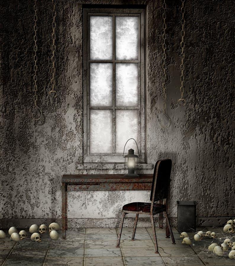 Oude kelderverdieping met kettingen vector illustratie