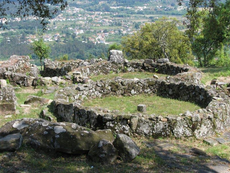 Oude Keltische regeling Citania DE Santa Luzia stock foto's