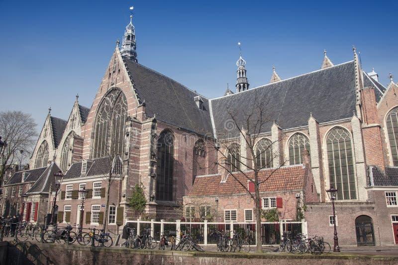 Oude kerk in Amsterdam stock afbeelding