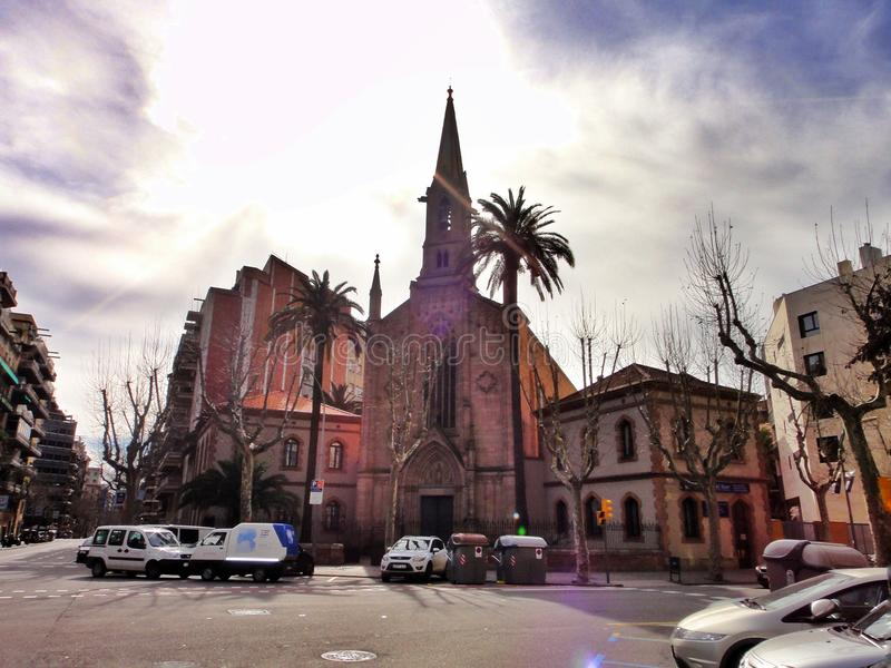 Oude kerk in Barcelona royalty-vrije stock foto