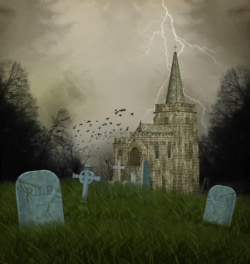 Oude kerk en graven royalty-vrije illustratie