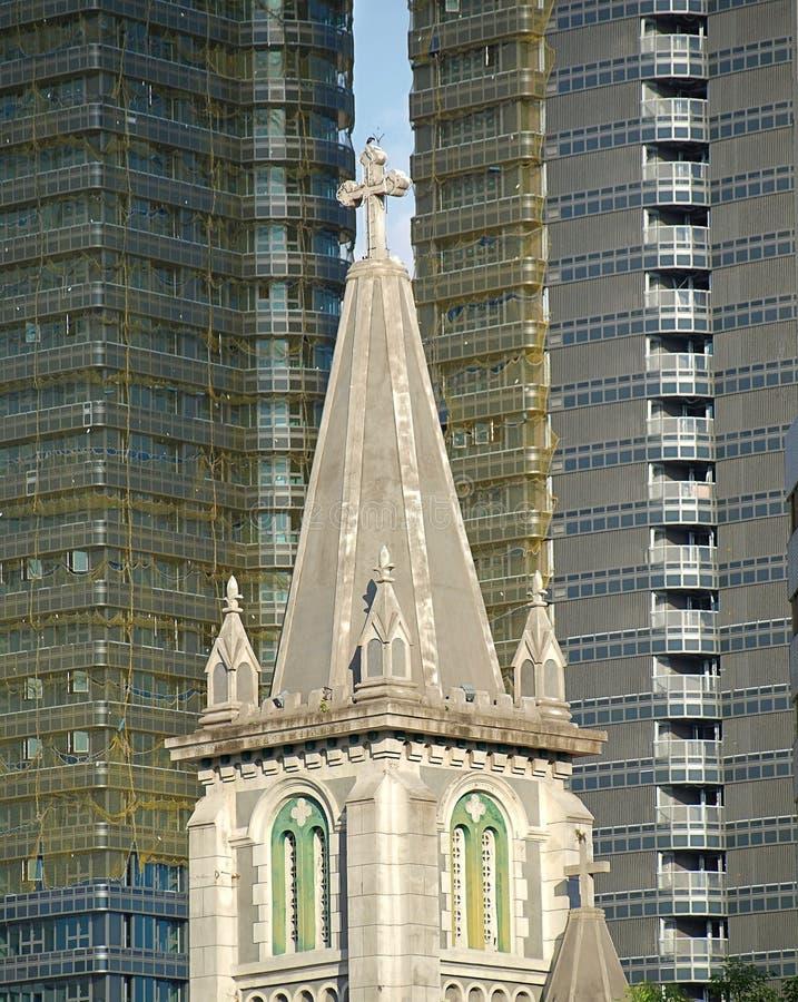 Oude Kerk en Nieuwe Bureautorens stock afbeeldingen