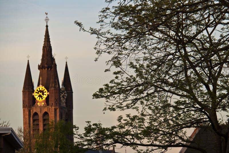 Oude Kerk, la vieille église à Delft, Pays-Bas images stock