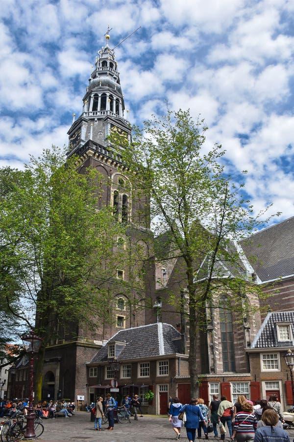 Oude Kerk lub stary kościół Stary farny kościół Amsterdam i obrazy royalty free