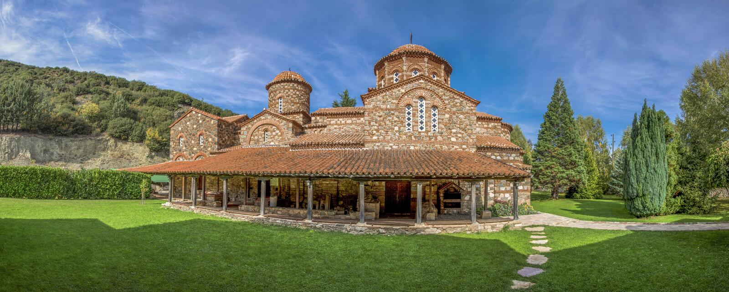 Oude kerk - Strumica, Macedonië - Vodocha-Klooster - panorama royalty-vrije stock foto