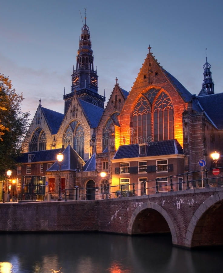 Oude Kerk At Twilight, Amsterdam, The Netherlands Stock Photo